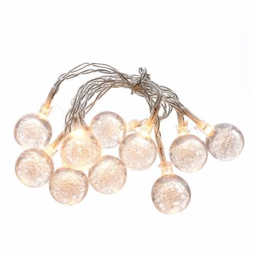 Éclairage Noël set 10 boules led blanc chaud s1