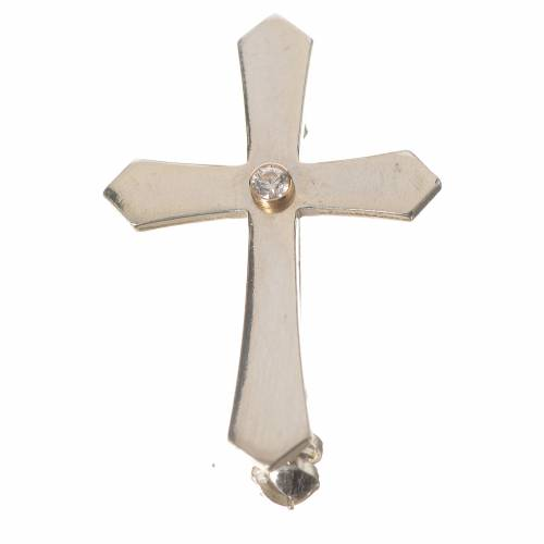 Clergy cross lapel pin with pointed edges in 800 silver zircon s1