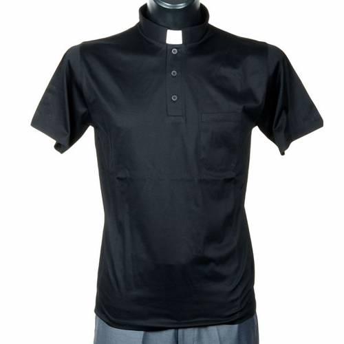 Clergy polo shirt short sleeves black lisle thread s1