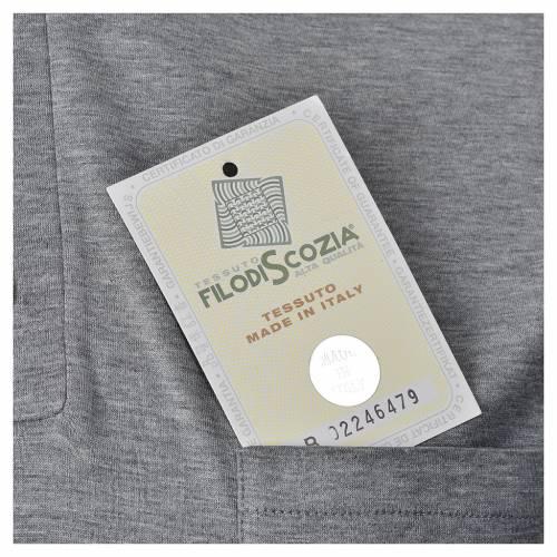 Clergy polo shirt short sleeves light grey lisle thread s5