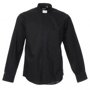Clergy Shirts: STOCK Clergy shirt, long sleeves in black mixed cotton
