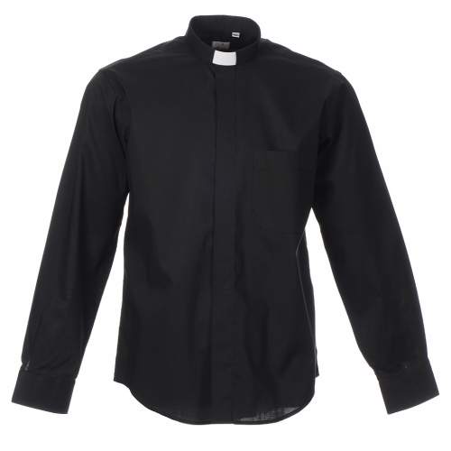 STOCK Clergy shirt, long sleeves in black mixed cotton s3