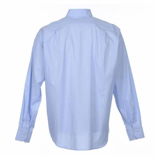 Clergy shirt long sleeves Prestige Line mixed cotton Light Blue s2