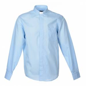 Clergy Shirts: Clergy shirt long sleeves solid colour mixed cotton Light Blue