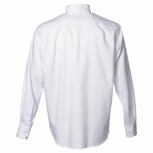 Clergy shirt with long sleeves, easy to iron, white mixed cotton s2