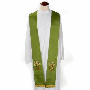 Stoles: Clergy stole in shantung, cross with rays