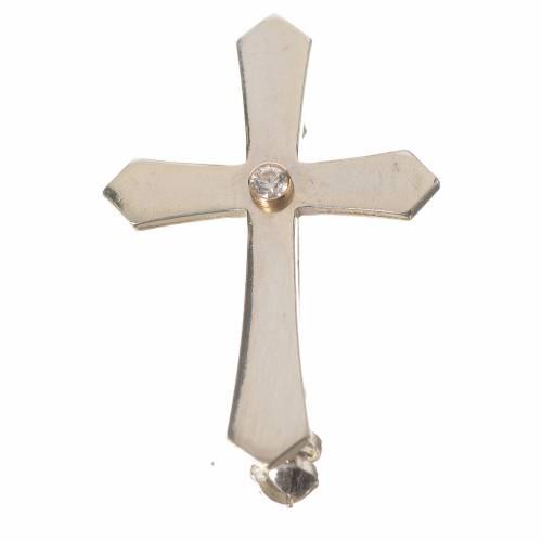 Clergyman croce a punta arg. 800 zircone s1