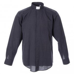 Clergy Shirts: Clergyman shirt in dark grey fil-a-fil cotton, long sleeves