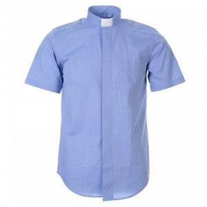 Clergy Shirts: STOCK Clergyman shirt in light blue fil-a-fil cotton, short sleeves