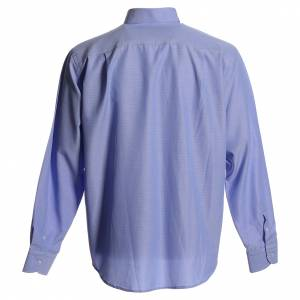 Clergy Shirts: Clergyman shirt in sky blue polyester cotton