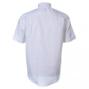 Clergy Shirts: STOCK Clergyman shirt, short sleeves white poplin