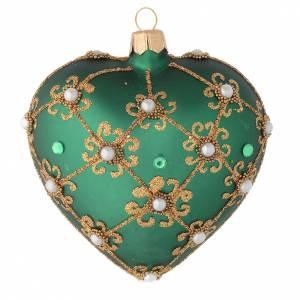 Coeur pour sapin Noël vert et or 100 mm s1