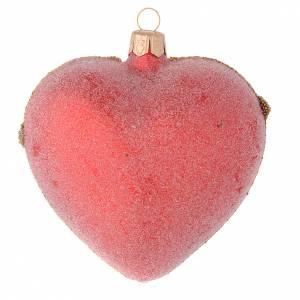 Coeur verre soufflé perles, rouge et or 100 mm s2