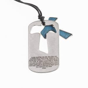Colgante Cruz Tau en azul Padre Nuestro con cordón s2