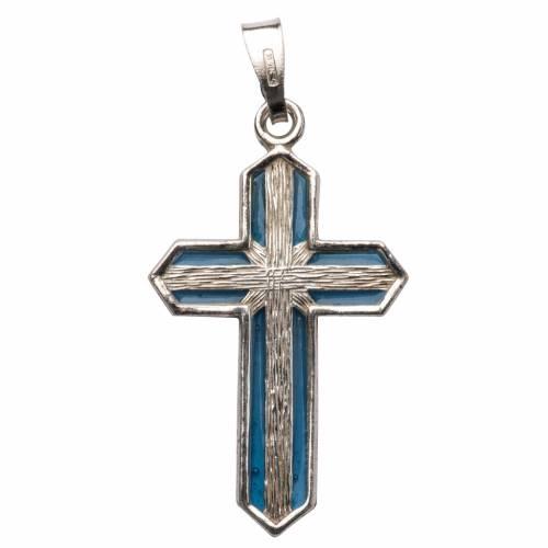 Colgante de cruz, en plata y esmalte s1