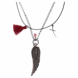 Pendenti, croci, spille, catenelle: Collana Ala di angelo catena e corda rosso