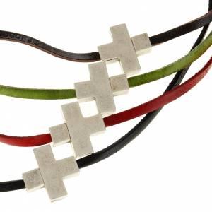 Pendenti croce metallo: Collana croce metallo pelle Medjugorje