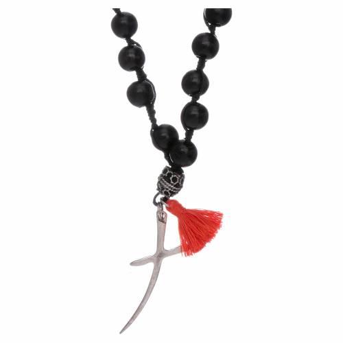 Collana rosario legno e argento grani 8 mm s1