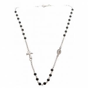 Collar MATER plata 925 perlas negras tau y medalla s4