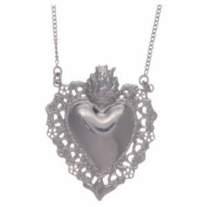 Colgantes, cruces y broches: Collar plata 925 corazón votivo perforado