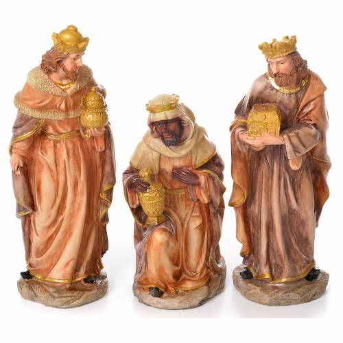Complete nativity set in natural coloured resin, 11 figurines 31cm s3