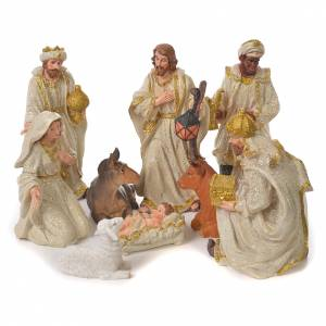 Resin and Fabric nativity scene sets: Complete nativity set in resin, 9 figurines 27cm