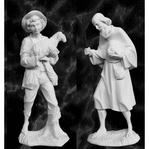 Complete Nativity set of 9 pieces in Carrara marble dust, 30cm s4