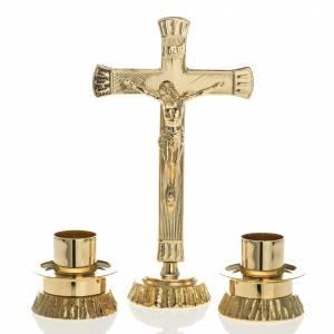 Croci da altare con candelieri: Completo per altare ottone