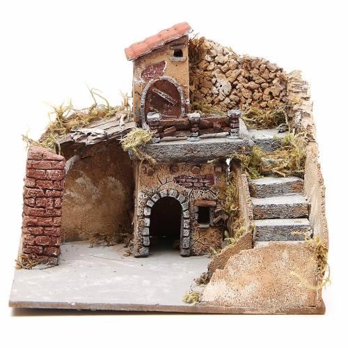 Composition maisons liège bois crèche Naples 20x23x20 cm s1