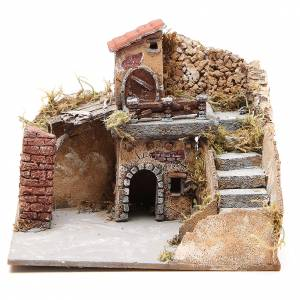 Neapolitan Nativity Scene: Composition of houses in cork and wood, Neapolitan Nativity, 20x23x20cm