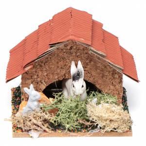 Animali presepe: Conigliera con conigli presepe 5x5x5 cm