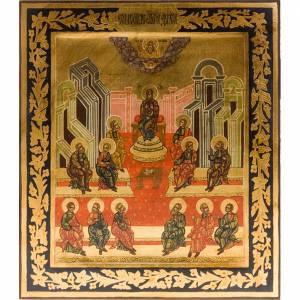 Íconos Pintados Rusia: Ícono entallo Pentecostés de 26x31 pintado a mano