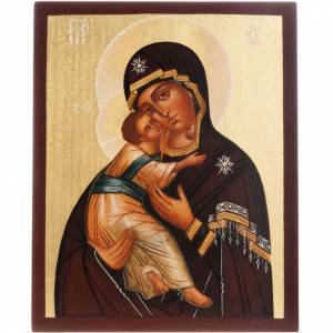 Ícono ruso Virgen de Vladimir 21x17 borde marrón s1