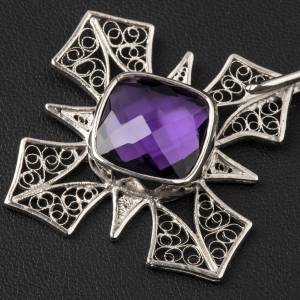 Cope Clasp in silver 800 filigree, cross with Amethyst s2