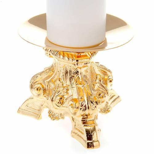 Coppia candelieri ottone dorato base treppiedi h15 s2