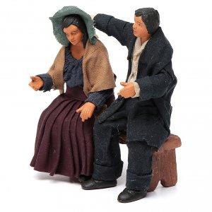 Coppia di fidanzati seduti 12 cm presepe napoletano s2