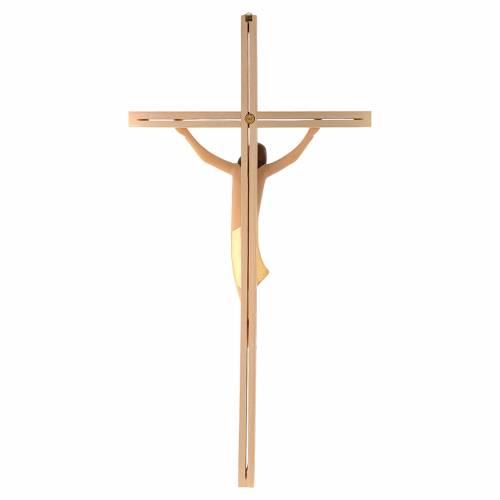 Corps Christ moderne drap doré croix en frêne s4