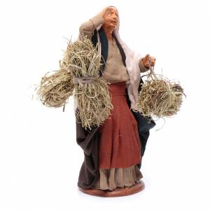 Countrywoman with straw bundles for nativity scene 14 cm s3