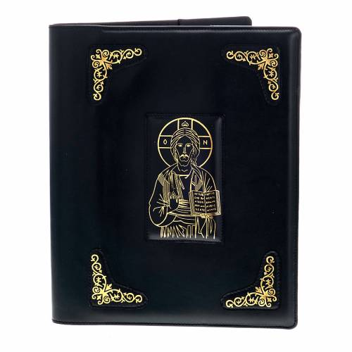 Cover for Roman missal in black leather with golden printing s1