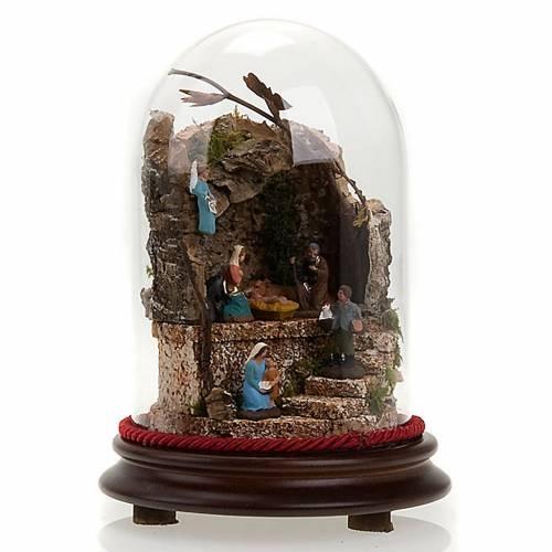 Crèche dans une cloche en verre avec milieu, 20 cm s1