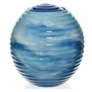 Cremation urn in porcelain, hand painted blue design s1