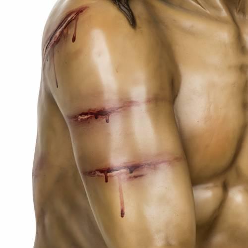 Cristo alla colonna 180 cm pasta di legno dec. anticata s3
