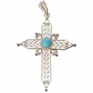 Pendenti, croci, spille, catenelle: Croce a punta Argento 800 e turchese
