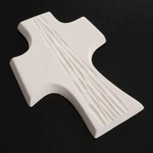 Croce Cresima stilizzata bianca oro argilla 15 cm s4