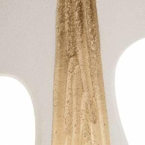 Croce Cresima stilizzata bianca oro argilla 15 cm s2