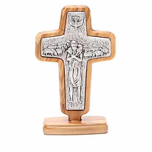 Croce da tavolo metallo Papa Francesco legno ulivo 13x8,5 cm s1