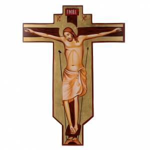 Croce icona dipinta a mano su legno 45x30 cm s1
