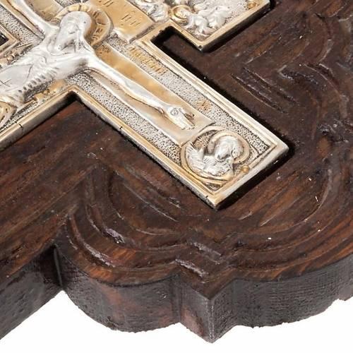 Croce icona ortodossa legno argento s3