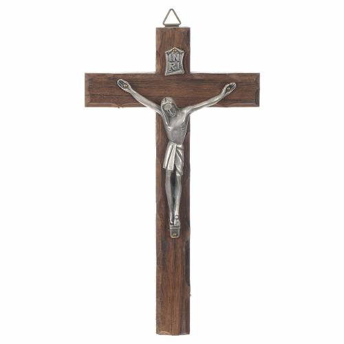 Croce legno Cristo metallo argentato 18 cm s1