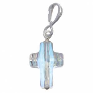 Pendenti, croci, spille, catenelle: Croce pendente in cristallo Swarovski bianco e Arg. 800 cm 1,5x1